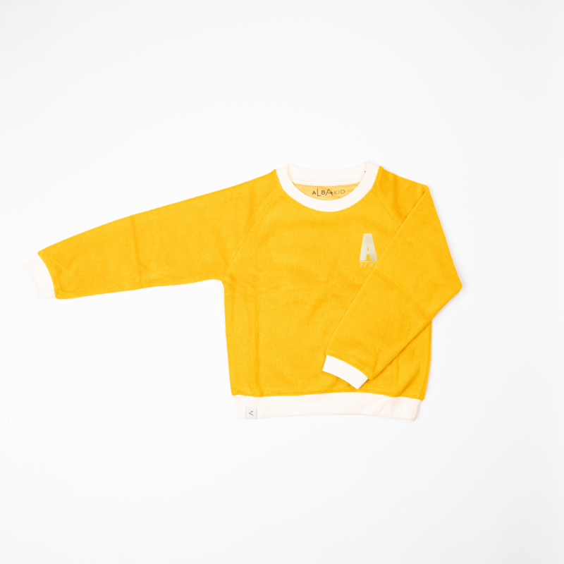 Longsleeve Sweat Albababy, Joy is a feeling Old gold