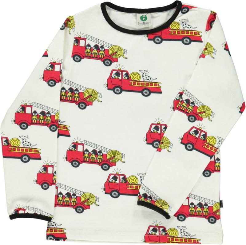 T-shirt long Smafolk, firetruck cream 86-92 of 92-98