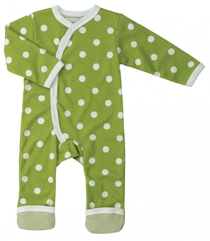 Babypakje Organics For Kids, groen met witte stip 6-12mnd