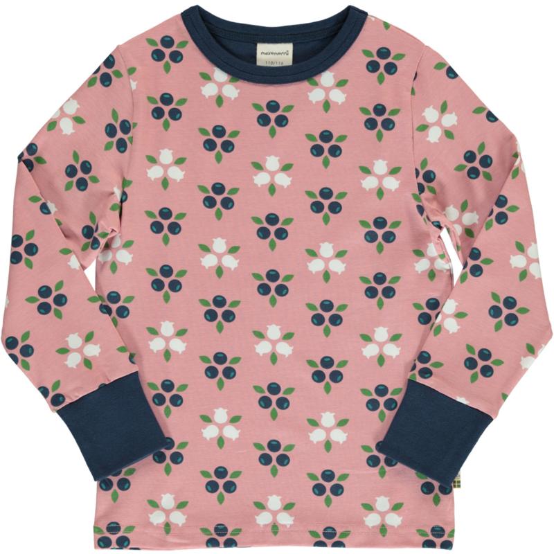 T-shirt long / longsleeve Maxomorra, Blueberry Blossom 122-128