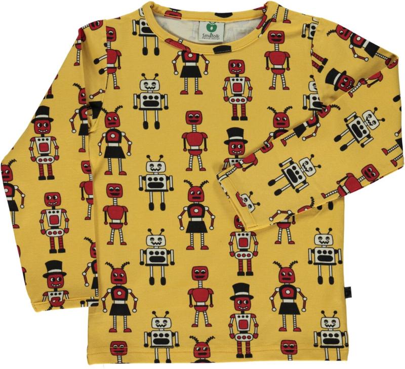 T-shirt long Smafolk, robots ochre 86-92, 92-98 of 98-104
