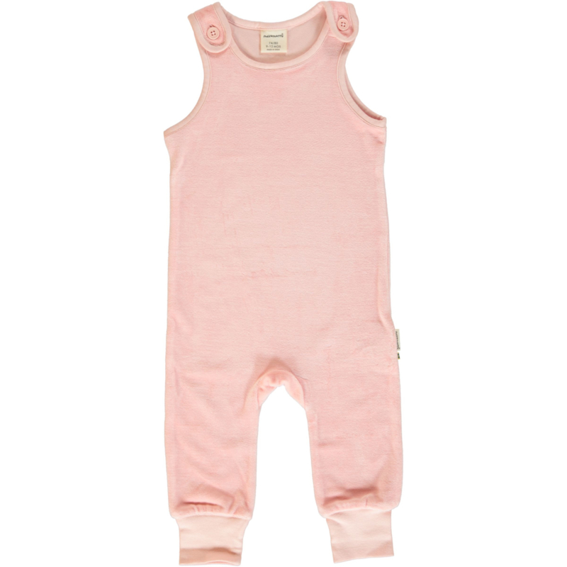 Playsuit Velours Maxomorra, Pale blush 74-80 of 86-92