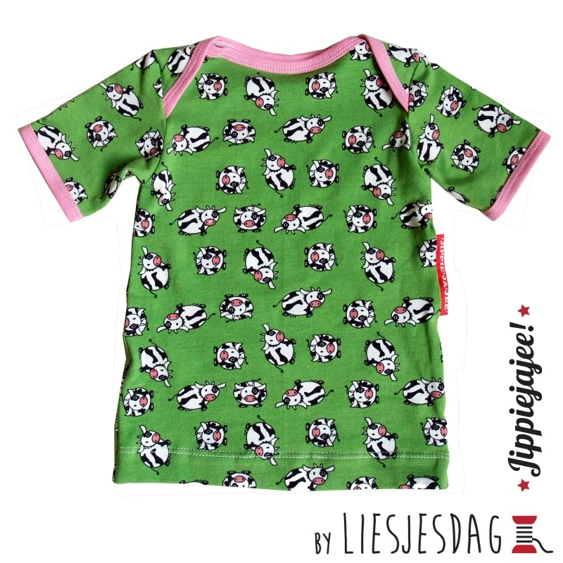 T-shirt By Liesjesdag, koetjes-roze maat 74