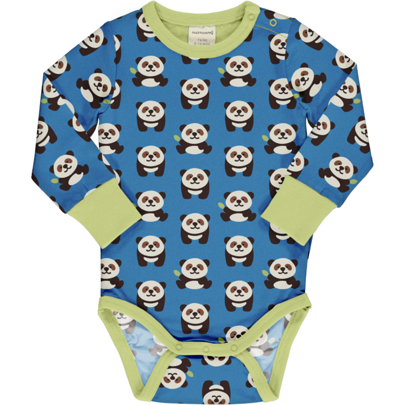 Romper / body LS Maxomorra, Playful Panda
