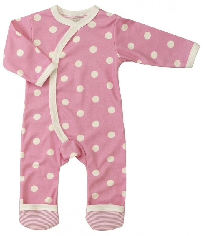 Babypakje Organics For Kids, roze met witte stip 6-12mnd