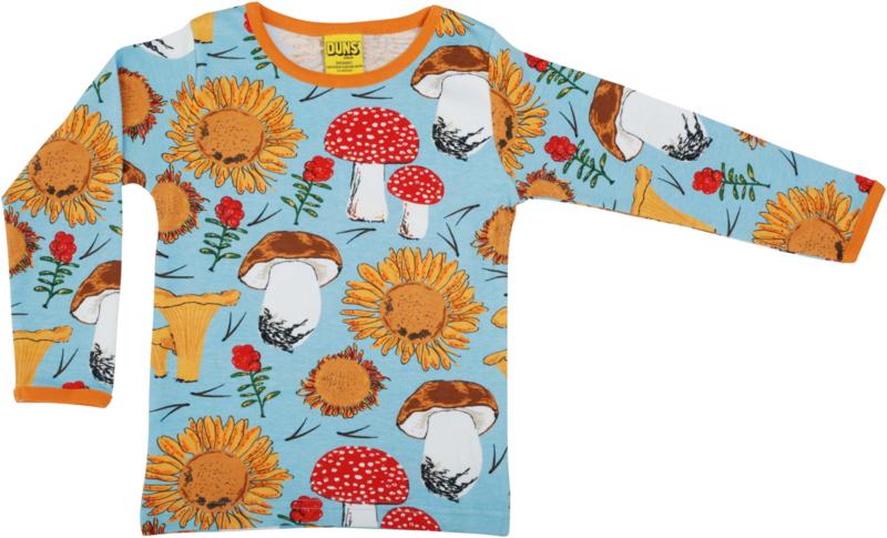 T-shirt Long  Duns Sweden, Sunflower and Mushrooms blue
