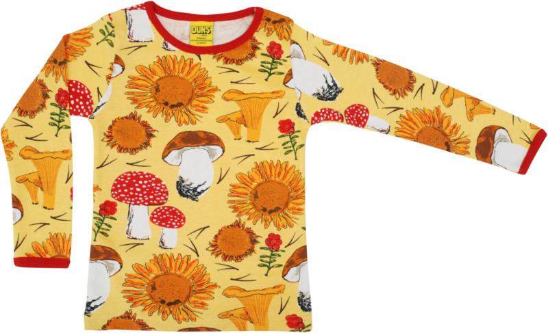T-shirt Long  Duns Sweden, Sunflower and Mushrooms yellow