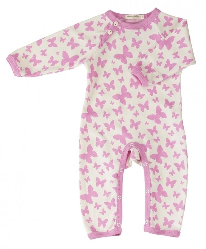 Babypakje Organics For Kids, wit met roze vlinders 6-12mnd