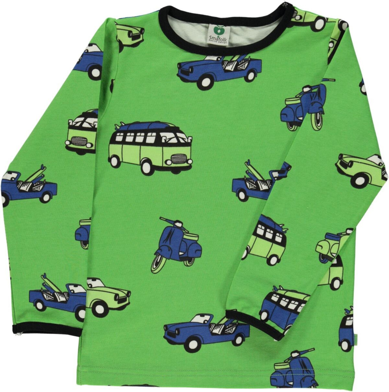 T-shirt long Smafolk, cars kiwi 98-104, 104-110