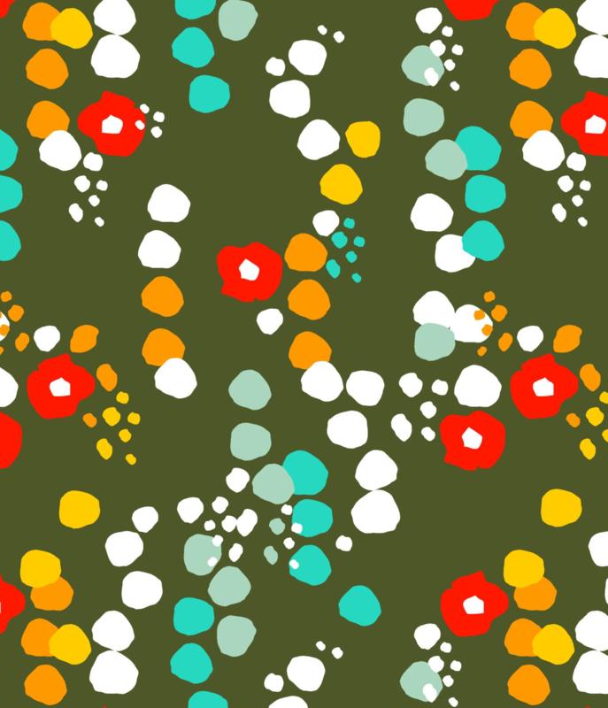 Jurk / Dress  short sleeves DUNS Sweden, Small flowers green 92, 104, 116 of 128