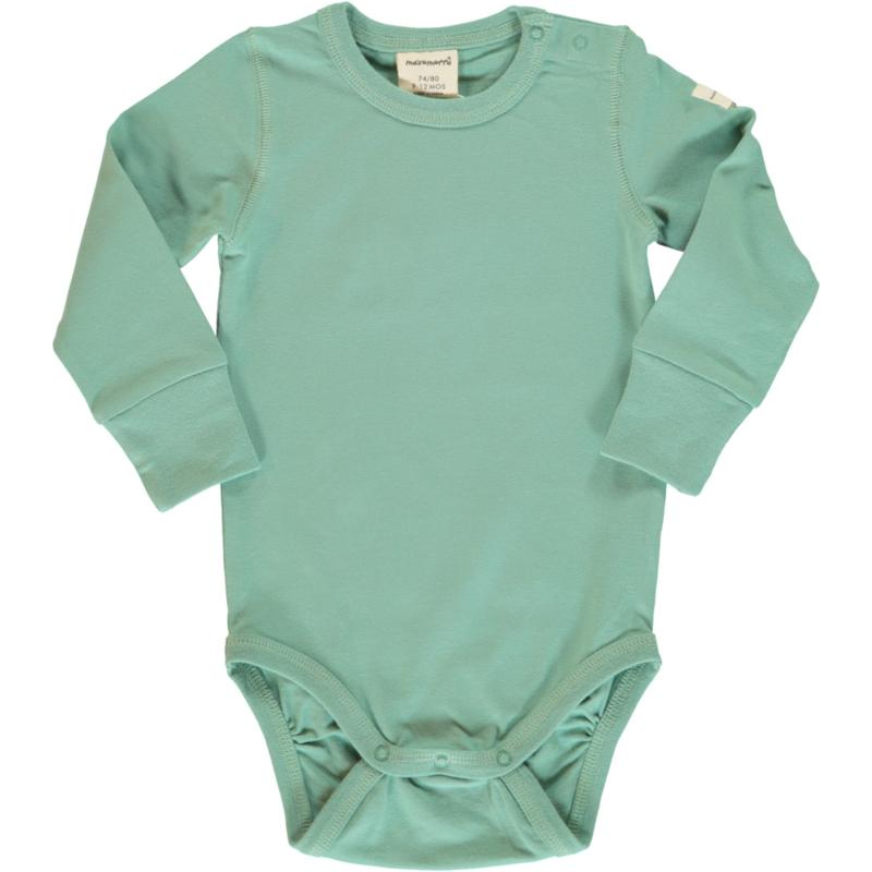 Romper / bodysuit LS Maxomorra, soft teal 50-56 of 62-68