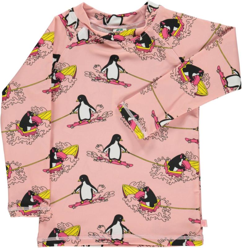 UV swimshirt Smafolk, Surf Penguin Silver Pink
