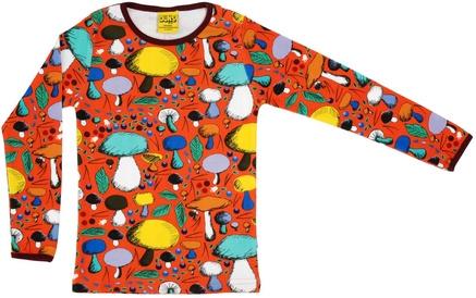 T-shirt Long  Duns Sweden, Mushroom forest dark orange