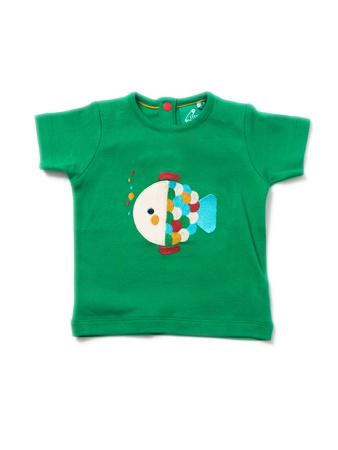 Little Green Radicals Organic S//S T Shirt Rainbow Fish Little Boat 0 3 6 9 12 18