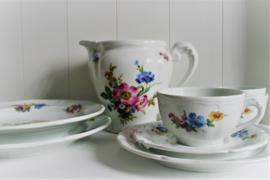 Frankrijk - Limoges - Floraal - Blauw Roze Geel - Kop en Schotel