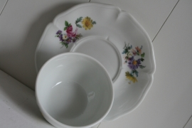 Frankrijk - Limoges - Floraal - Multi - Kommetje met Schotel - Mt.10