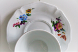 Frankrijk - Limoges - Floraal - Blauw Roze Geel - Kommetje met Schotel