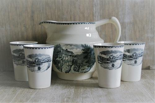 Societé Ceramique Maestricht Landschap Zwart - Melkkan met Bekers