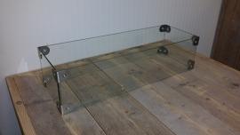 Glazen ombouw voor een tafelhaard van 65cm x 19cm