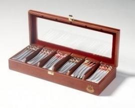 Handgemaakte donker houten theekist met 60 T-Sticks