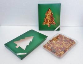Notendoos met kerstboom, gevuld met notenmix ongezouten