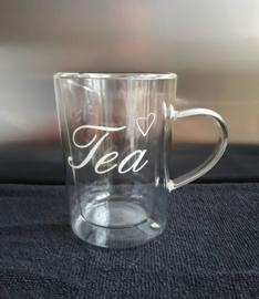 Theeglas dubbelwandig met tekst: tea
