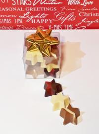 Kerstchocolade in transparante doos, 8x8x8 cm