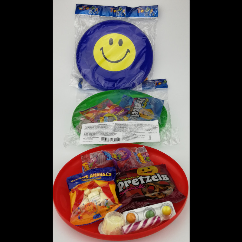Frisbee gevuld met snoepjes