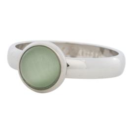 10mm 1 cat eye green. Zilver