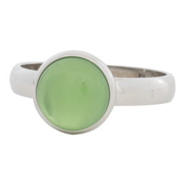 12mm 1 green stone. Zilver