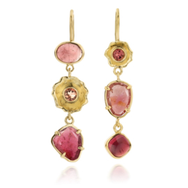 Pink tourmaline in Fairtrade gold