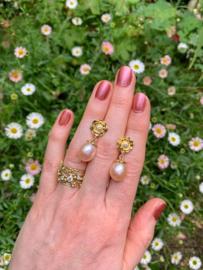 Zoetwater parels & diamant (Verkocht!)