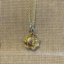 Klein hangertje geelgoud & diamant (Verkocht!)