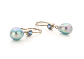 Blue Akoya pearl & sapphire(Sold!)