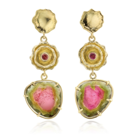 Watermelon tourmaline in Fairtrade gold