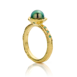 Tahitian pearl & paraiba green diamonds