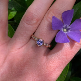 Lavender corundum & diamonds (Reserved!)