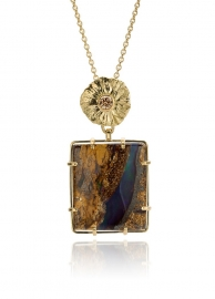 Opal & brown diamond in Fairtrade gold
