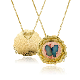 Vlinder opaal & diamant