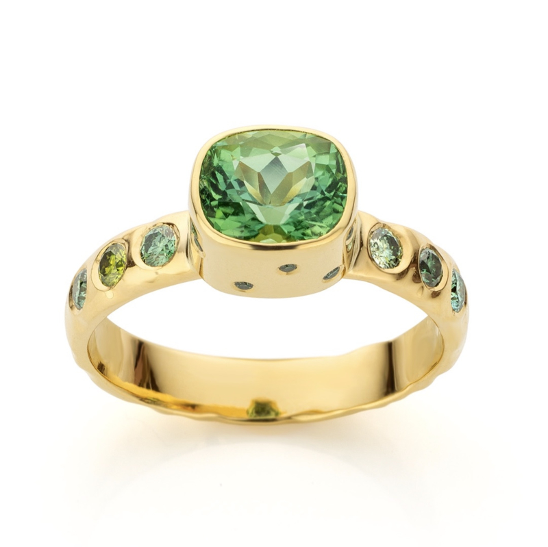 Groene toermalijn & diamant