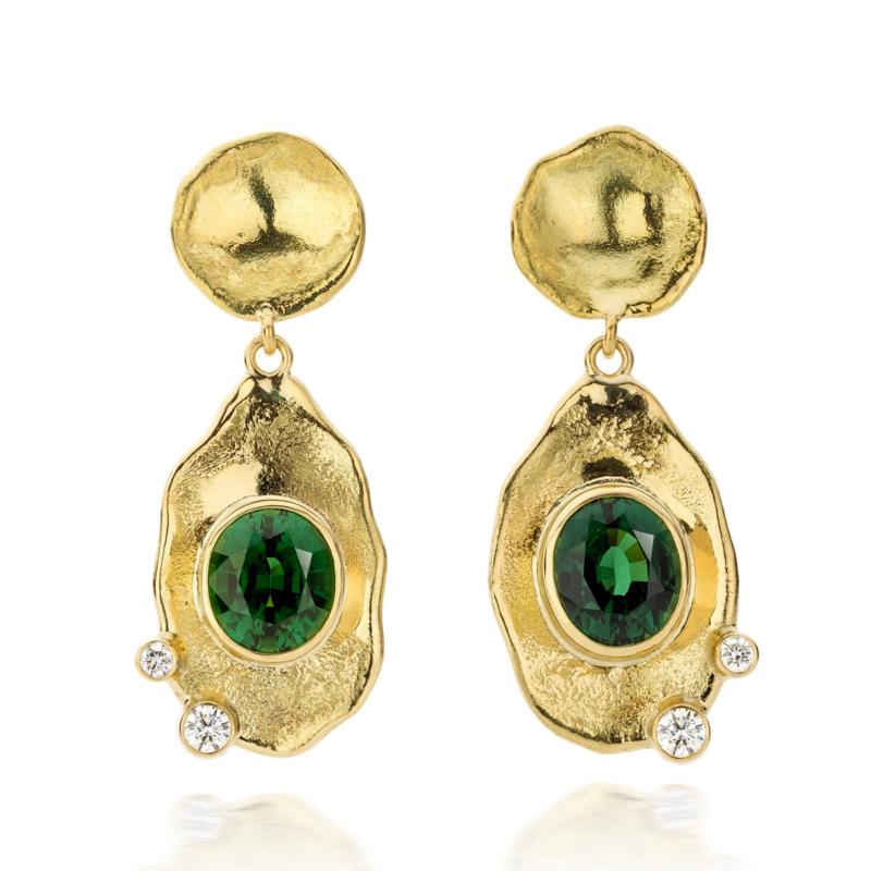 Intens groene toermalijn & diamant