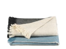Alpaca wollen plaid blauw, naturel, zwart