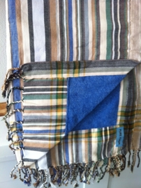 Strandlaken Kikoy Brown Blue Gray  Stripes
