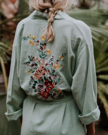Flowers in seagreen