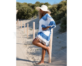 Sarong Dress white royal blue