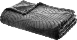 Fleeceplaid Palmmotief Grijs