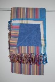 Strandlaken Kikoy Blue Taupe  Stripes