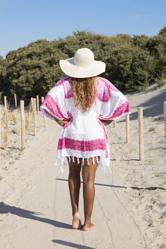 Sarong Dress White Pink