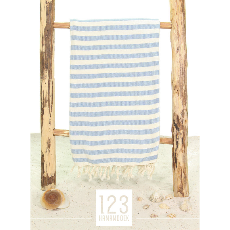 123 Hamamdoek Streep Blauw
