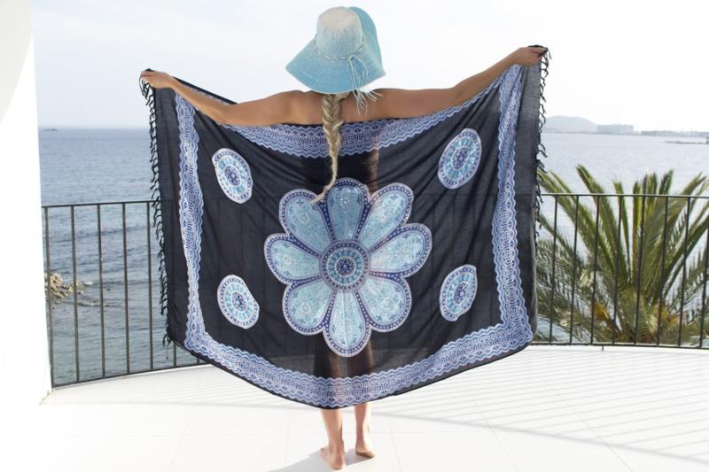 Sarong black dark blue